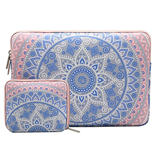 Compatible 11-11.6 Inch MacBook Air, Ultrabook Netbook Tablet with Small Case, Canvas Fabric Mandala Pattern Protective Carrying Bag Cover, Blue and Pink ()
