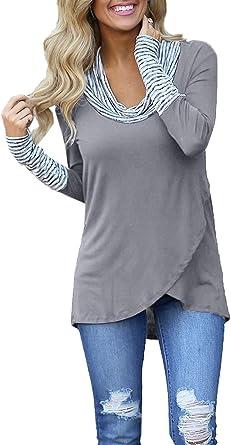 Túnicas De Las Mujeres Empalme De Rayas Camisa Larga Tops ...