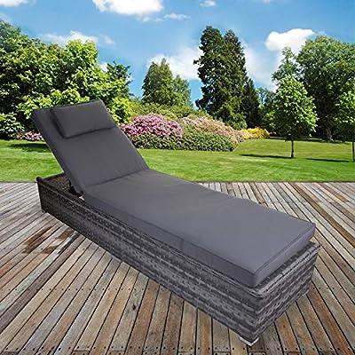 Marko Grey Sun Bed Lounger Rattan Cushion Reclining