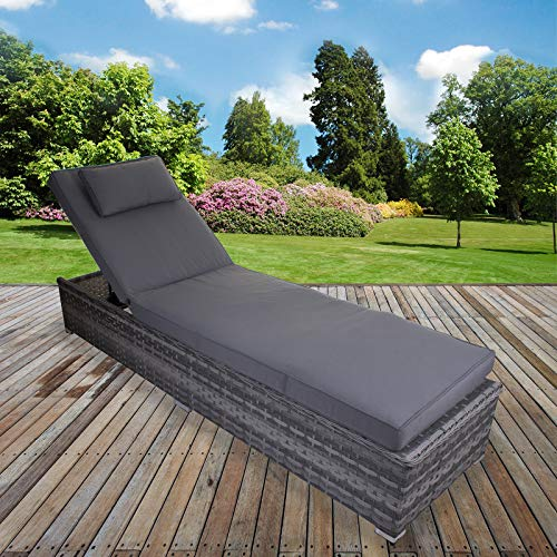 Marko Grey Sun Bed Lounger Rattan Cushion Reclining