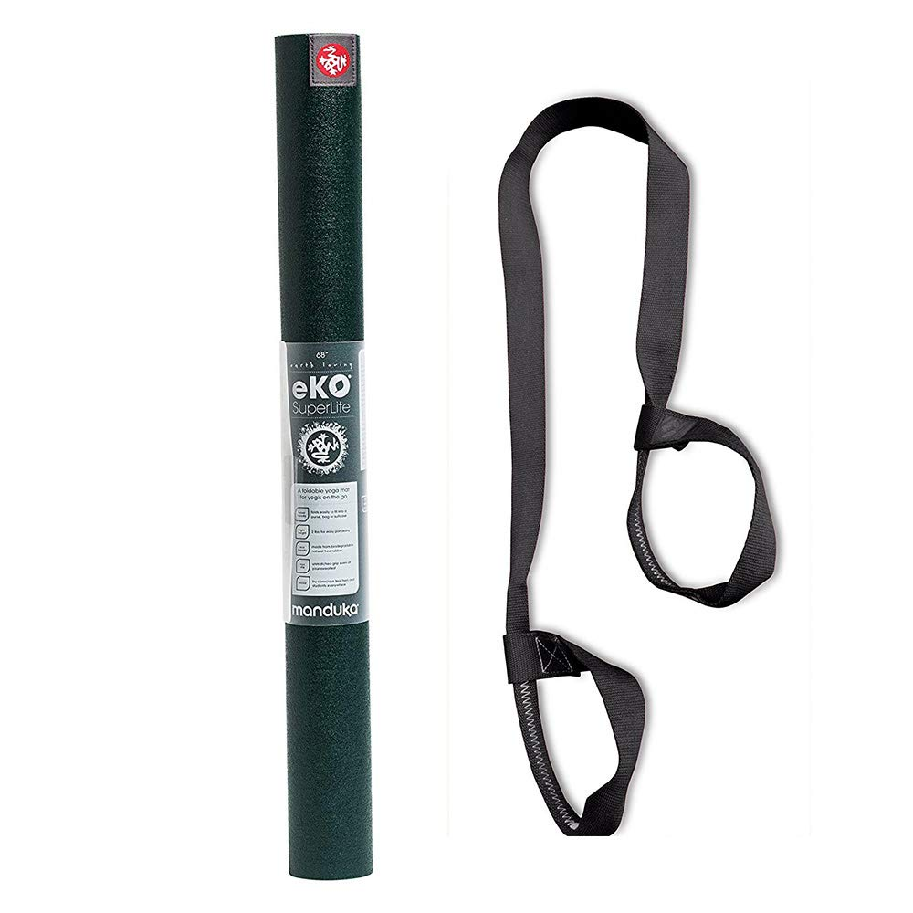 PlayBetter Manduka EKO スーパーライト トラベル ヨガ ピラティス マット 調節可能 ストラップ キャリアバンドル | 1.5 mm ノンスリップ表面 非毒性 & 非ポリ塩化ビニル B07L9MCD4V  Thrive
