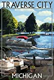 Conflict with City, Michigan - Pontoon Boats (9x12 Art Print, Wall Decor Travel Poster)