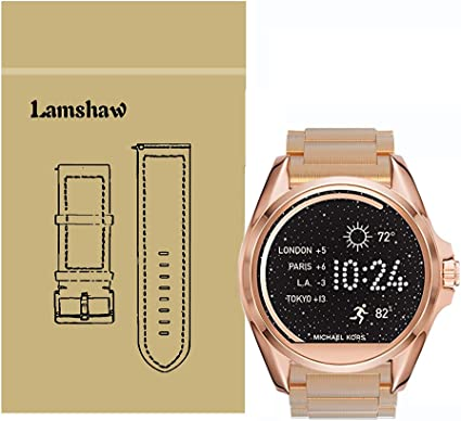 for Michael Kors Access Bradshaw Bands, Lamshaw Stainless Steel Metal Replacemet Straps for MK Access Touchscreen Bradshaw Smartwatch (Metal-Rose ...