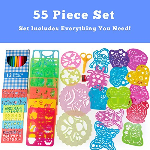 amazoncom 55 pc stencil drawing kit w case full set of drawing stencils for kids art educational toy kids gift w 30 plastic stencils including - Kids Drawing Stencils