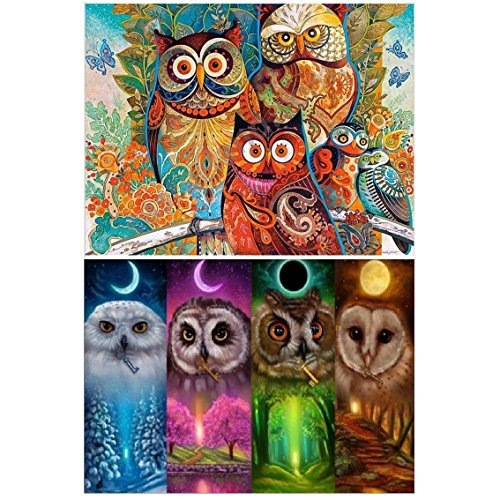 Onest 2 Pack 5D DIY Diamond Painting Full Drill Paint with Diamonds Owl for Home Wall Decor by Number Kits (12X16inch)