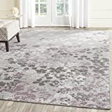 Safavieh Adirondack Collection ADR115M Light Grey and Purple Contemporary Floral Square Area Rug (6′ Square) For Sale