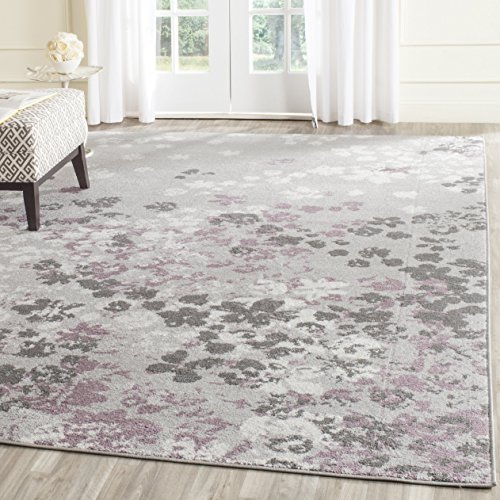 Safavieh Adirondack Collection ADR115M Light Grey and Purple Contemporary Floral Area Rug (8' x 10')
