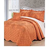 4 Piece Tangerine Burnt Orange Oversized Bedspread King To The Floor Set, Extra Long Floral Damask Bedding Drops Over Edge of Bed Wide French Country Pattern Embroidered Stitching Classic, Polyester