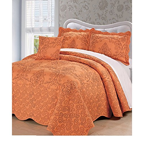 4 Piece Tangerine Burnt Orange Oversized Bedspread King To The Floor Set, Extra Long Floral Damask Bedding Drops Over Edge of Bed Wide French Country Pattern Embroidered Stitching Classic, Polyester by D&H