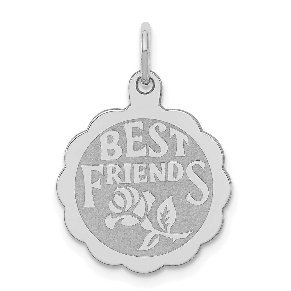 Sterling Silver Anti-Tarnish Treated Best Friends Disc Charm on an Adjustable Chain Necklace