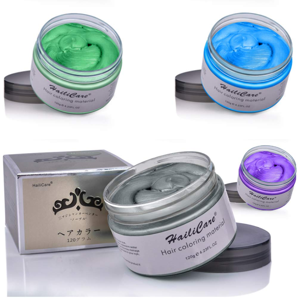 HailiCare Unisex Temporary Hair Dye Wax, Fashion DIY Hair Color Wax for Adults Kids & Children, Perfect for Party, Cosplay (Blue+Purple+Green+Gray) by HailiCare