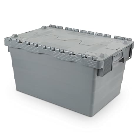Contenedor de almacenamiento reutilizable 600 x 400 x 320 con tapa con bisagras, 60 litros: Amazon.es: Industria, empresas y ciencia