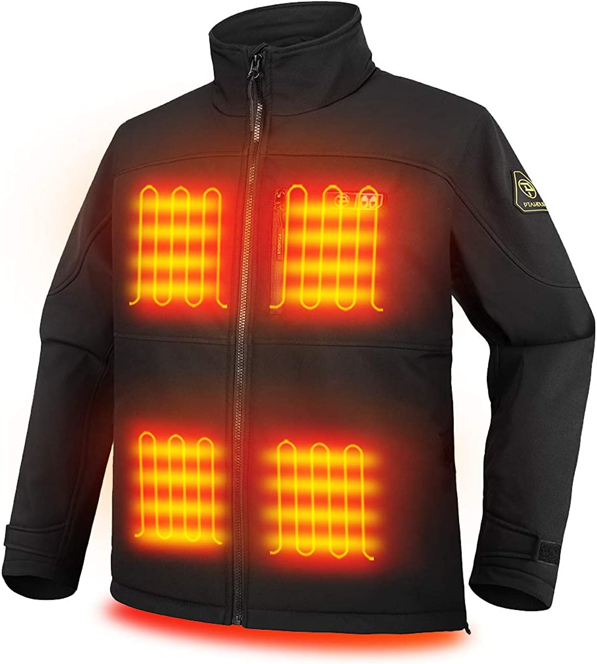 PTAHDUS Men's Heated Jacket Soft Shell, Heated Performance Jacket Soft Shell with Hand Warmer (Includes 7.4V Battery Pack)