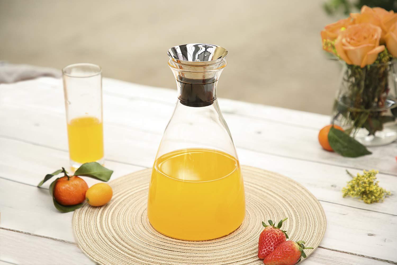 Amazon.com: Hiware jarra de cristal con tapa de acero ...