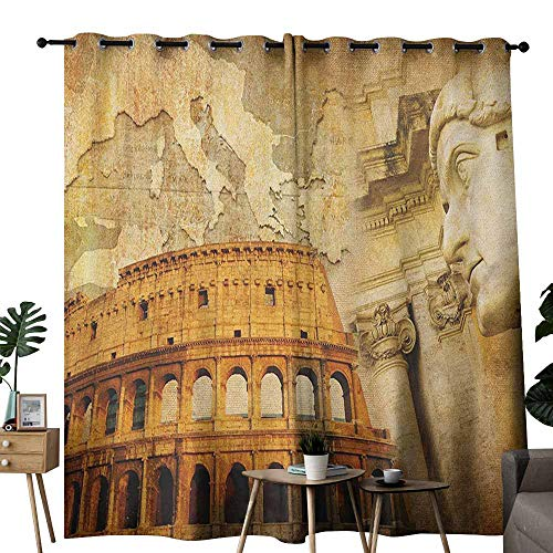 duommhome Retro Breathable Curtain Roman Empire Concept Famous Columns Sculptress Colosseum Map of The Nation Print Privacy Protection W84 x L108 Orange Brown