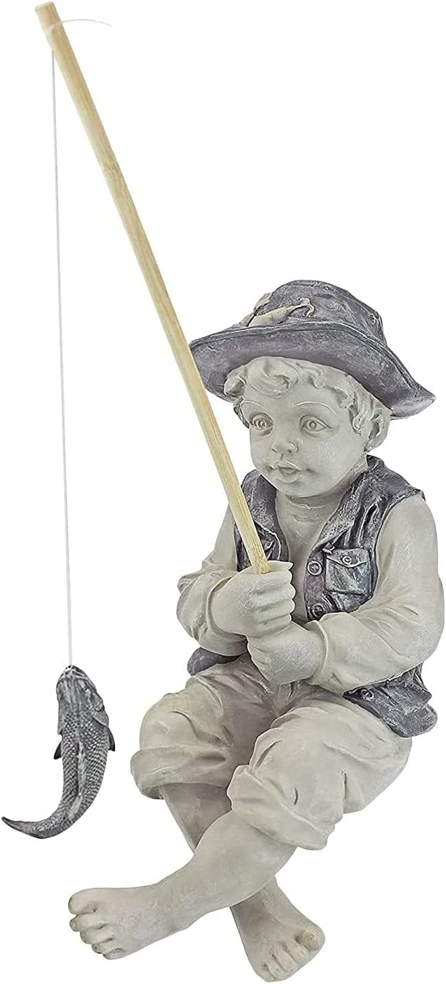 Garden Fisherboy Statue, Fishing Boy Cast Stone Figurine Pond and Garden Decor Accent Sculpture, for Outdoor Yard Lawn Pool Pond Fishing Ornament