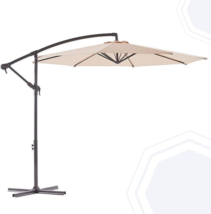 BLUU BANYAN 10 FT Patio Offset Umbrella Outdoor Cantilever Umbrella Hanging Umbrellas, Fade Resistant & Waterproof Solution-dyed Canopy Fabric with Infinite Tilt, Crank & Cross Base (Beige)