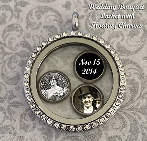 Bridal Wedding Bouquet Photo Floating Glass Locket Kit w/ Photo Charms Kit (Photo Three Locket)