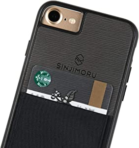 Sinjimoru iPhone SE 2020 / iPhone 8/7 Case with Card Holder, Card Wallet Cell Phone Case Cover for Apple iPhone SE 2/8 / 7. Sinji Pouch Case, Black.