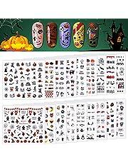 1600 Pcs Halloween Nail Art Stickers Decals, Kalolary 3D Self-Adhesive DIY Nail Art Decals Stickers with Pumpkin/Bat/Ghost/Skull/Spider Web/Devil Nails Design for Halloween Party Nails Decorations