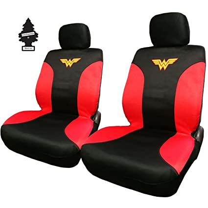Pair Of New DC Comic Wonder Woman Sideless Neoprene Waterproof Car Seat Covers With Air Freshener