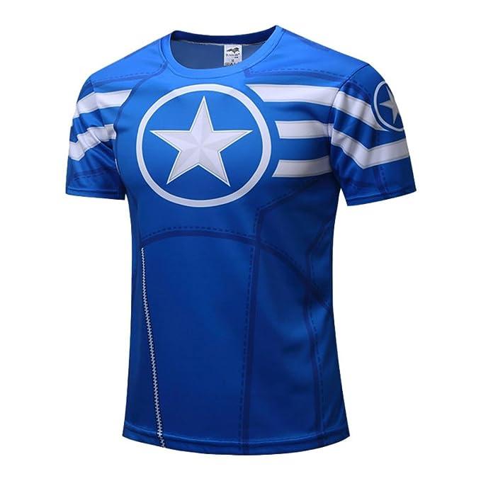 Amazon com: Men's Cool Running Shirt Short Sleeve Captain America