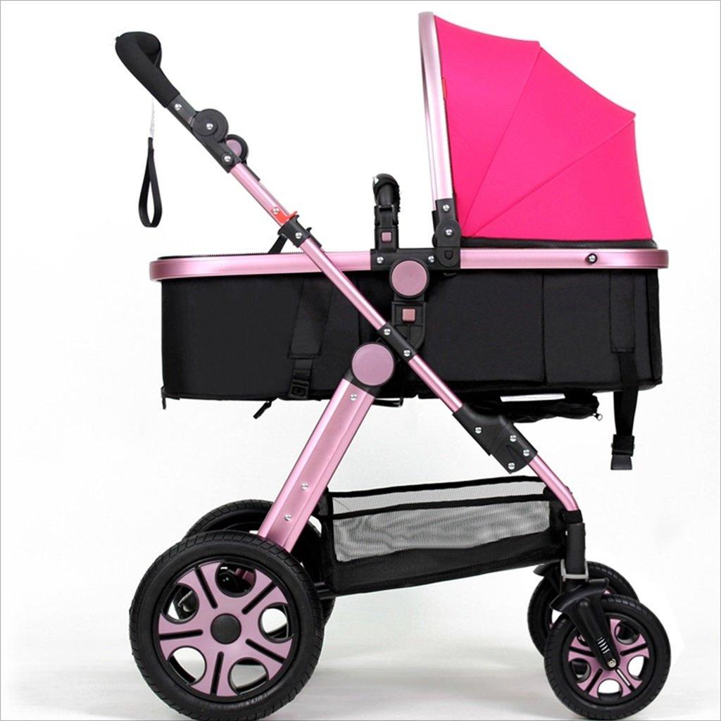 新生児の赤ちゃんキャリッジ折りたたみ可能な座って、1ヶ月のためのダンピングの赤ちゃんカートに落ちることができます 3歳の赤ちゃんの双方向四輪ベビートロリーを振るのを避ける (色 : ピンク ぴんく) B07DVDC497ピンク ぴんく