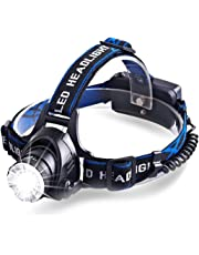 LED Zoomable Rechargeable Headlamp Flashlight Headlight, 3 Light Modes with 4200 mAh Rechargeable Batteries, for Camping Hunting Running, Very Bright Waterproof Headlamp