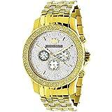 Yellow Gold Tone Watches: LUXURMAN Mens Diamond Watch 0.25ct