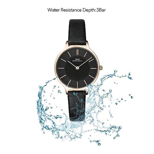 Amazon.com: IBSO Women Fashion Simple Watch Ultra-Thin Retro Quartz Analog Leather Strap Ladies Wristwatch (Black): Watches
