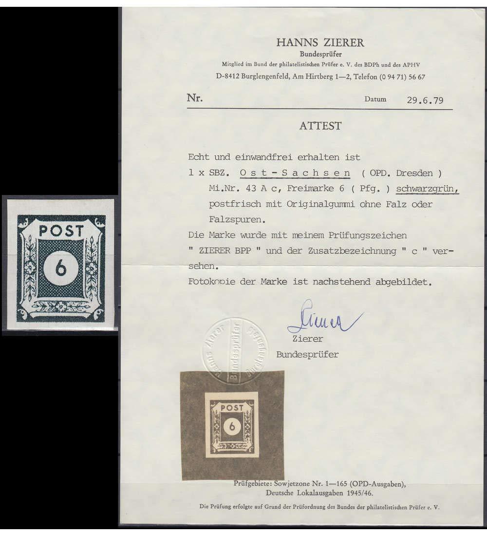 Goldhahn SBZ Nr. 43 A c postfrisch  mit Fotoattest Zierer Briefmarken für Sammler
