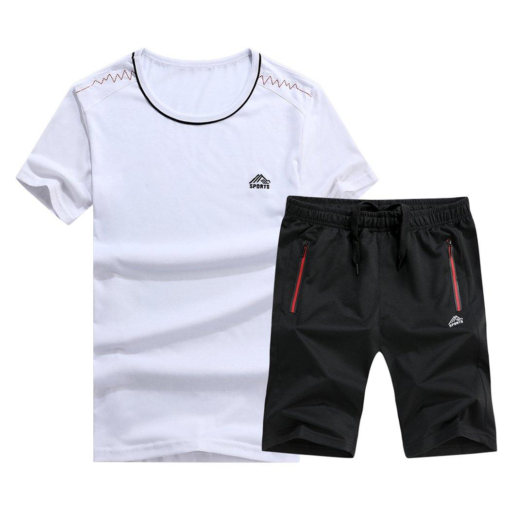 5e8471b693c 1806-white November's Chopin Mens Sports Short-Sleeve T-Shirts & Shorts  Running Running Running Set Short Sweatpants e21b54