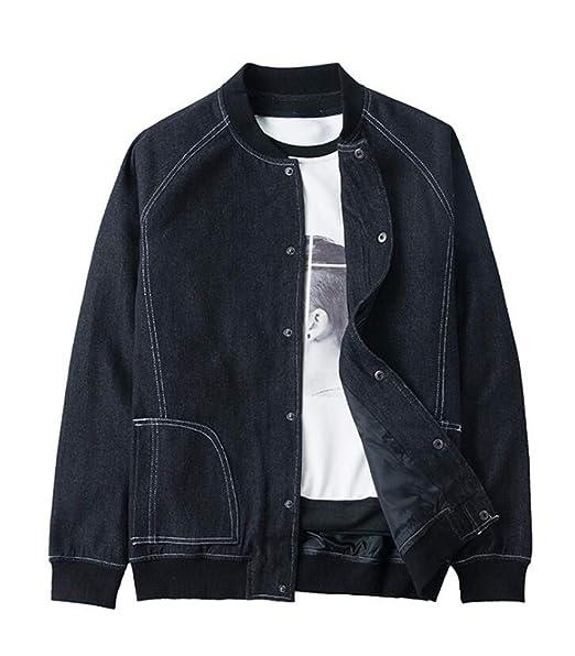 dadbc7ad5 UUYUK Men Vintage Slim Fit Button Down Denim Bomber Jacket at Amazon ...