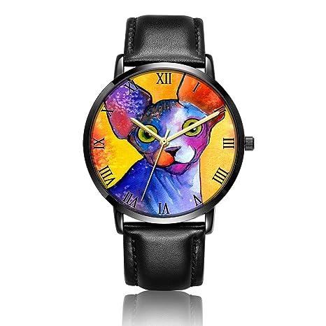 Amazon.com: Whiterbunny Customized Sphynx cat Painting Wrist Watch Unisex Analog Quartz Fashion Black Leather Strip/Black Dial Plate for Women and Men: ...