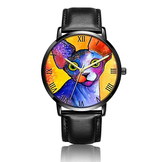 Whiterbunny Customized Sphynx cat Painting Wrist Watch Unisex Analog Quartz Fashion Black Leather Strip/Black