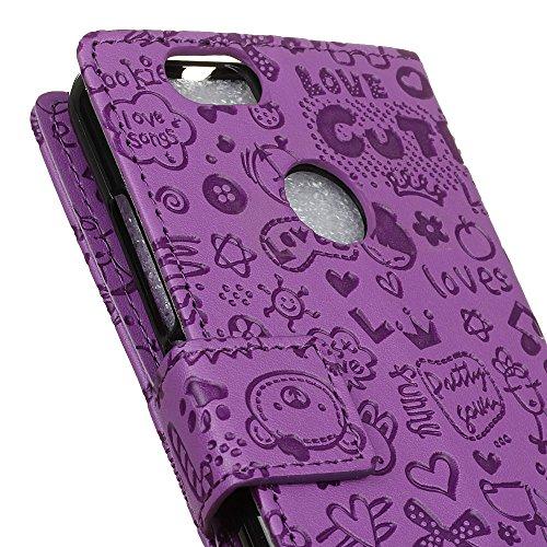 Lusee® PU Caso de cuero sintético Funda para Huawei P10 Lite Cubierta con funda de silicona botón pequeña bruja rojo rosa pequeña bruja lilac