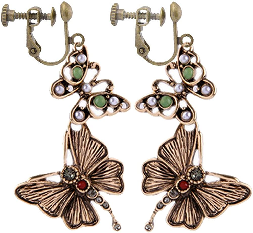 Vintage Retro Double Butterfly Clip on Earrings with Simulated Pearl Dangle for Kids Teen Girls Women