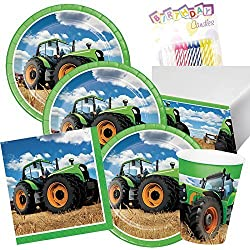Tractor Time Party Supplies Pack Serves 16: Dinner Plates, Luncheon Napkins, Cups, Table Cover and Birthday Candles