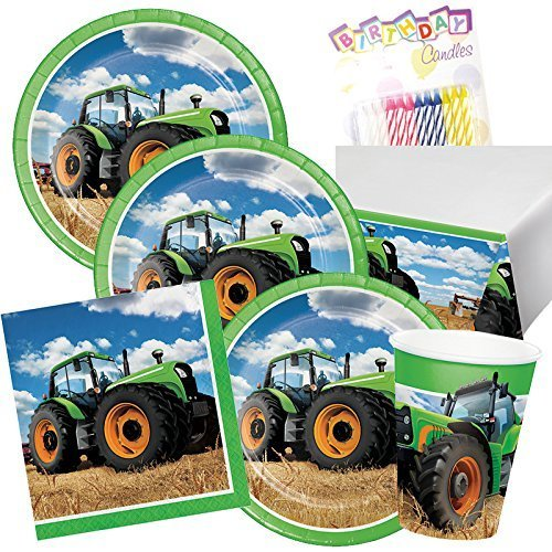 Lobyn Value Pack Tractor Time Birthday Party Plates Napkins Cups and Table Cover Serves 16 with Birthday Candles - Tractor Birthday Party Supplies (Bundle for 16) by Lobyn Value Pack