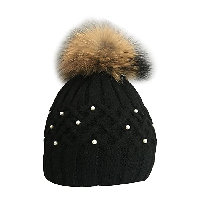 LSERVER Women Girl Boys Girls Raccoon Pompom Ball Rhinestone Beanie Toboggan Hat Crochet Wnter Knitted Warm