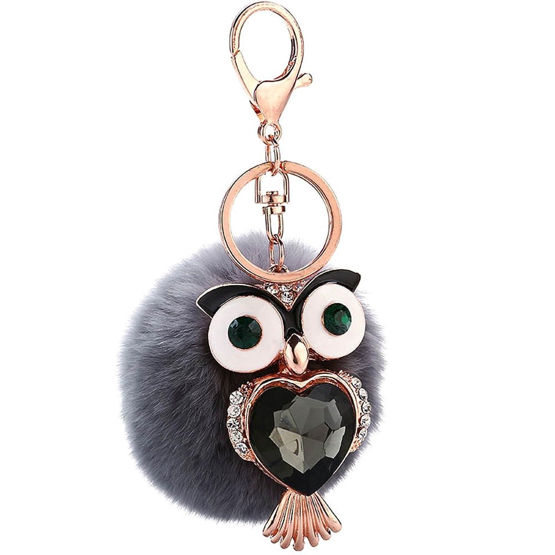 Kết quả hình ảnh cho ZTL Rabbit Fur Pom Pom Keychain with Big Eyes Rhinestone Owl Bag Charm Pendant