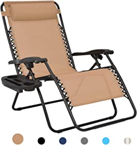 Patio Watcher Oversized Zero Gravity Chair Folding Recliner Chair with Cup Holder Accessory Tray and Removable Pillow for Outdoor Yard Porch Beige 1 Chair