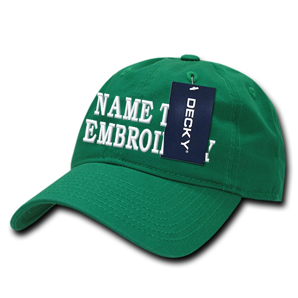 Custom Embroidery Baseball Cap Curve Unconstructured Cotton Dad Hat - Green by Caprobot iD (Image #1)