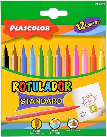 Plascolor PP851 - Pack de 12 rotuladores: Amazon.es: Oficina y ...