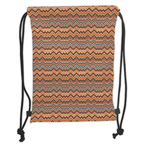 Maya Girls Bike - Custom Printed Drawstring Backpacks Bags,Native American Decor,Ethnic Colorful Chevron Zig Zag Maya Pattern, Soft Satin,5 Liter Capacity,Adjustable String Closure,The Stylish Bag For Every Day Us