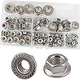 Flange Nuts Hex Lock Self-Locking Metric Thread Serrated Nut 304 Stainless Steel Assortment Kit 125Pcs,M3 M4 M5 M6 M8 M10 M12