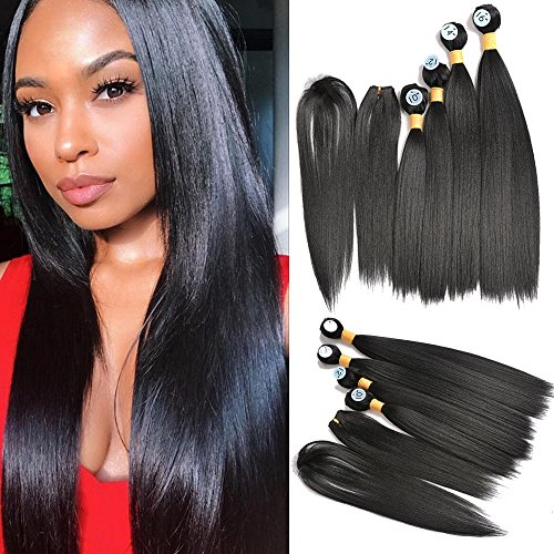 "Inaly 4 Bundles Hair Extensions Silky Straight Natural Black Weave with Closure and Hair Bangs(10"" 12"" 14"" 16"")"