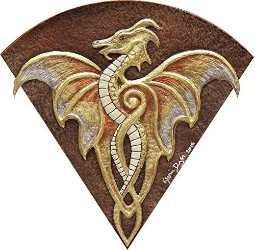 Fan Dragon - Cast Paper - Fantasy art -Gold Dragon - Drake - Draco - winged dragon - paper dragon - wall art