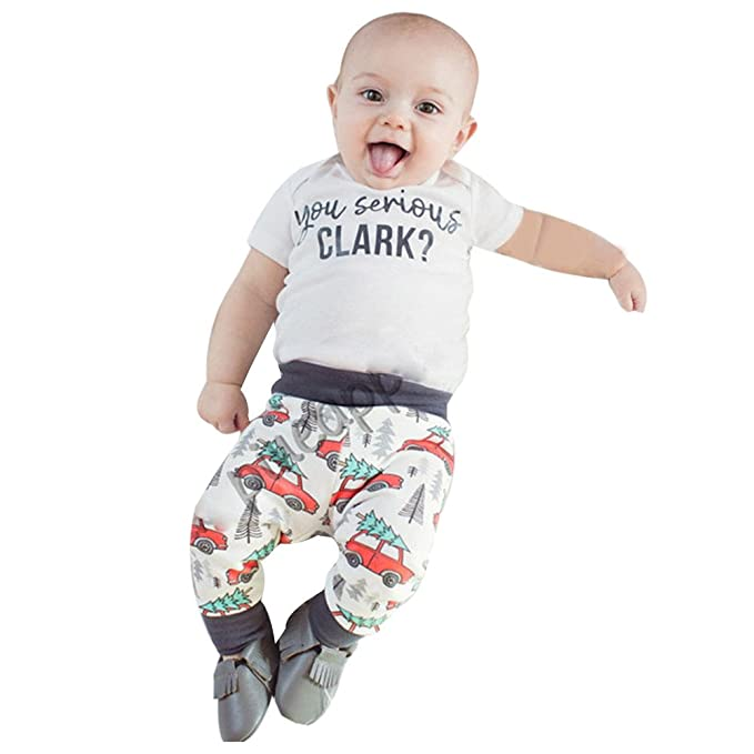 1763efbd7ee9c Toddler Kids Christmas Outfit, Baby Boys Girls Letter Print T-Shirt Tops +  Cartoon Car Pants 2PCS Set Family Pajamas Clothes for 0-18 Months:  Amazon.co.uk: ...
