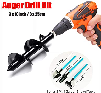 """weispo Auger Drill Bit Garden Plant Flower Bulb Auger 3.5 x 10 Inch Rapid Planter-Fence Post Hole Digger Drill Bit for 3//8/"""" Hex Drive"""